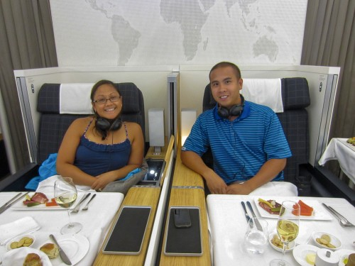 Mike & Joann aboard Swiss Internaional Airlines First Class Zurich - Montreal