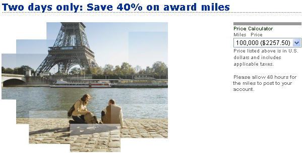 United Airlines buy miles offer