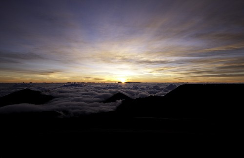 Haleakala, the sun peaking out over the horizon
