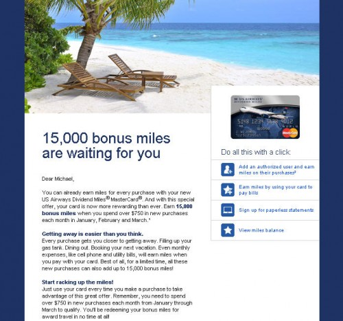 US Airways 15K Bonus Email