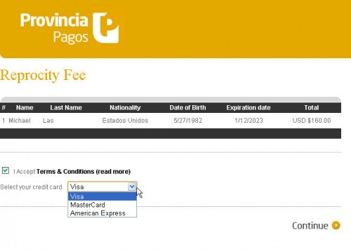 argentina reciprocity fee