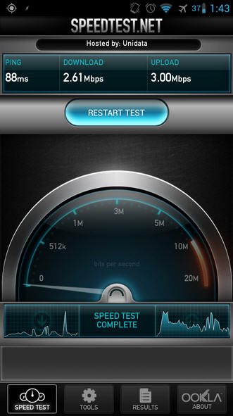 3G speed test outdoors