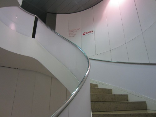 Spiral stairs up to the Lounge