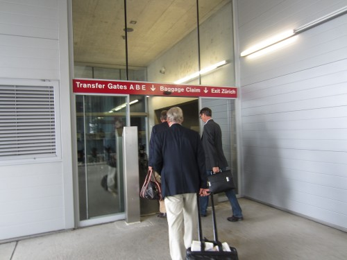 Elevator up to the main floor of the terminal