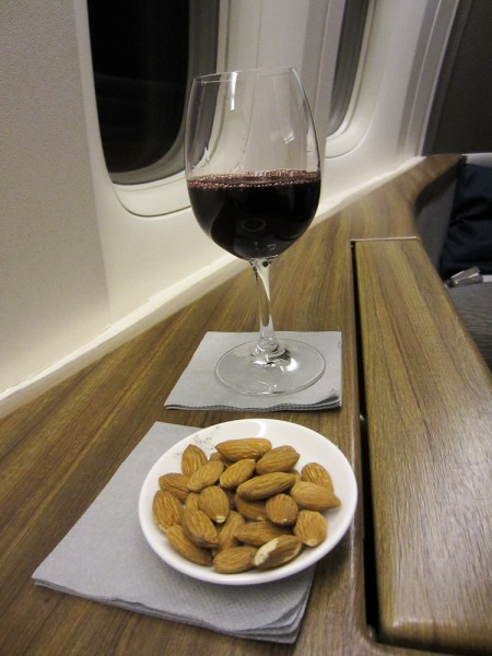 Starting with red wine & hot almonds