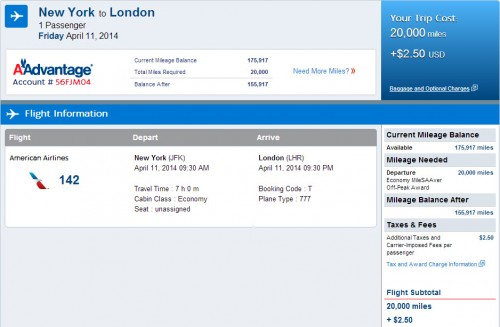 New York - London: 20K AA Miles + $2.50