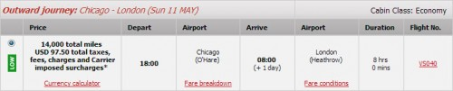 Chicago - London: 14K Miles + $97.50