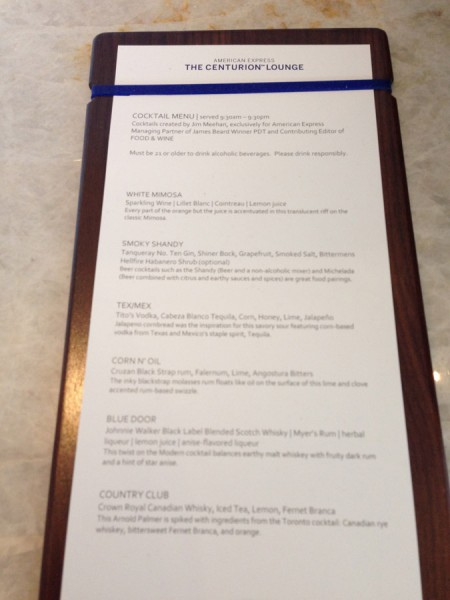 amex centurion lounge Cocktail Menu