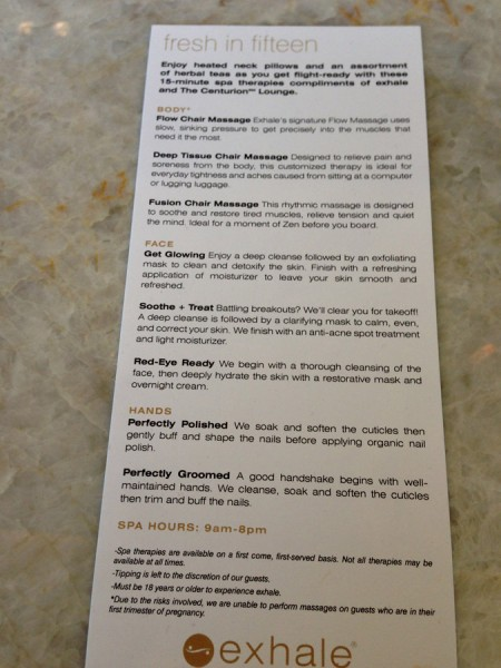 List of Exhale Spa Treatments. amex centurion lounge