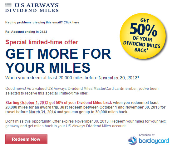 Targeted US Airways Promotion: Redeem 20K Miles, Get 10-50% of Them Back!