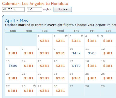 LAX-HNL April