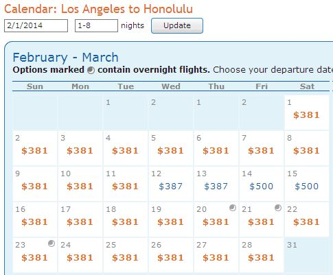 LAX-HNL Feb