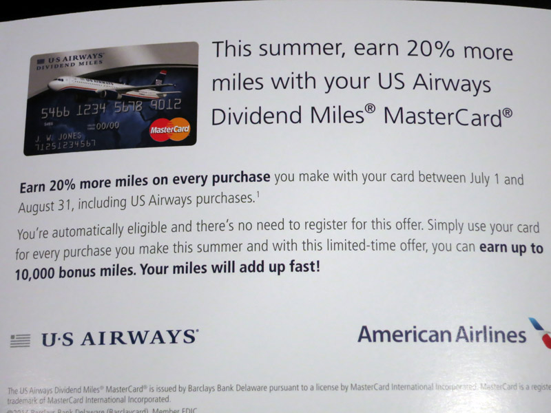 US Airways MasterCard 20% Bonus Miles