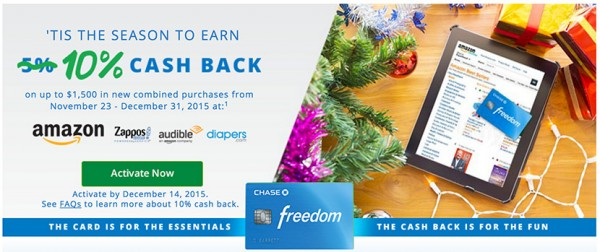 Chase Freedom 10% Amazon